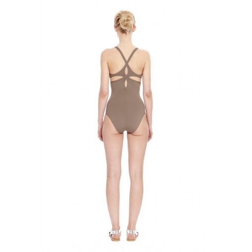 TAUPE TWIST BACK ONE PIECE - BACK