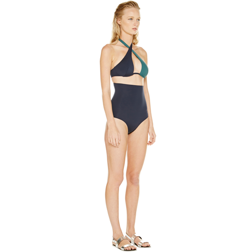 BICOLORE WRAP ONE PIECE - FORET MARINE - SIDE