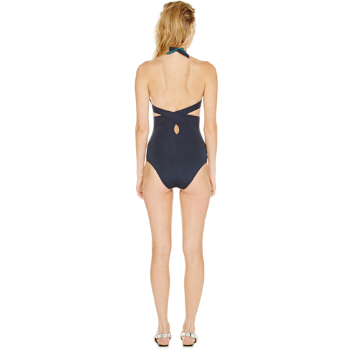 BICOLORE WRAP ONE PIECE - FORET MARINE - BACK