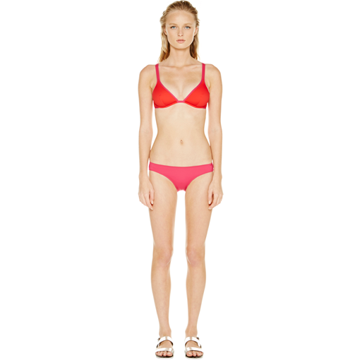 BICOLORE CLASSIC BRA IN ROUGE FRAMBOISE WITH FRAMBOISE CLASSIC PANT - FRONT