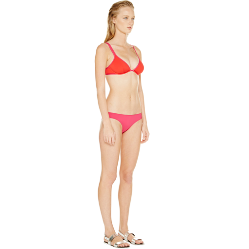 BICOLORE CLASSIC BRA IN ROUGE FRAMBOISE WITH FRAMBOISE CLASSIC PANT - SIDE