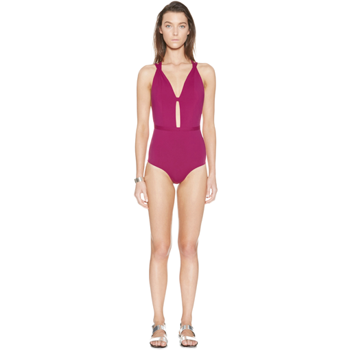 CERISE CROSSED ONE PIECE - FRONT