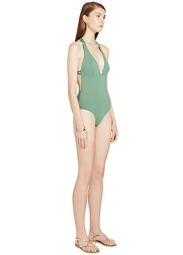 KHAKI SWERVE ONE PIECE SIDE
