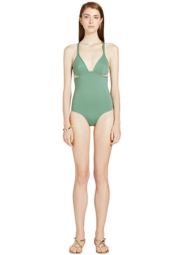 KHAKI TWIST BACK ONE PIECE FRONT
