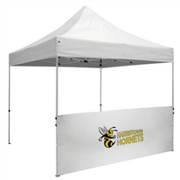 10 Foot Wide Tent Half Wall and Premium Stabilizer Bar Kit - White or Black Only (Full-Color Thermal Imprint)