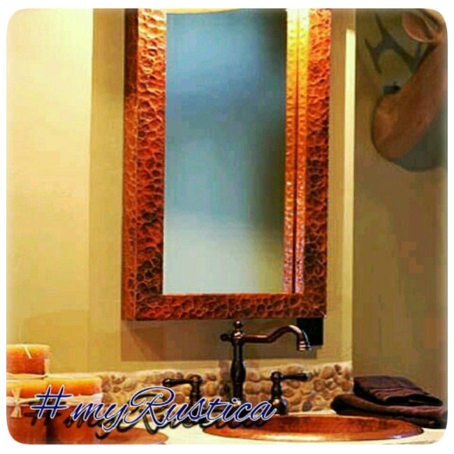 decorative hammered copper mirrors for foyer, living room, bath and fireplace mantel
