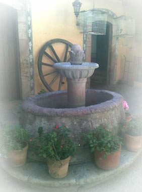 rustic home decor, cantera stone fireplaces and fountains from Mexico