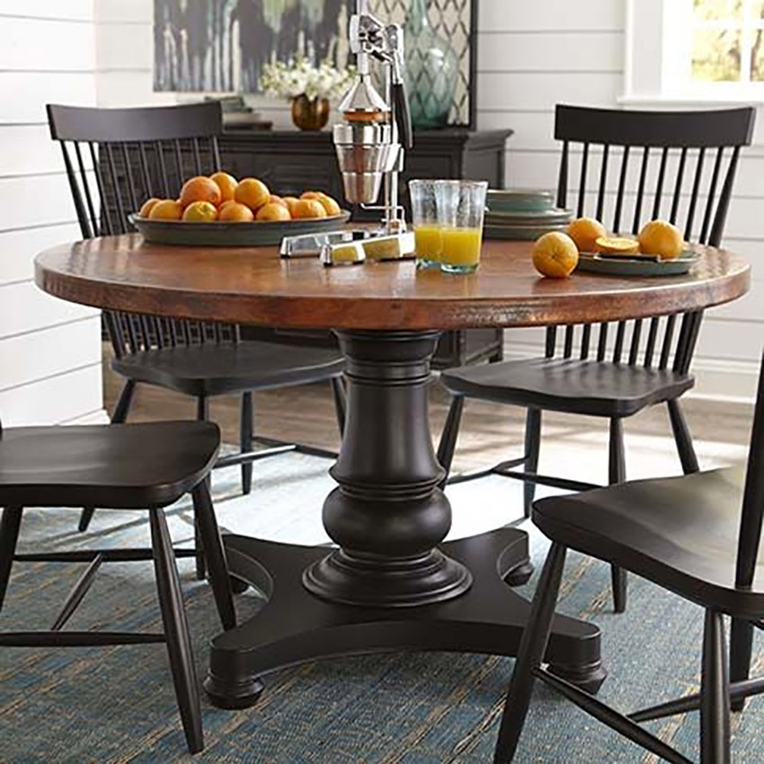hammered copper dining room table