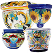 mexican talavera pottery flower pots, planters and wall sconces