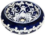 dark blue white mexican vessel sink