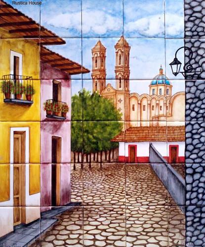 Tile mural village for Mural village