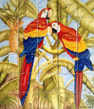 Birds on trees  wall tile mural