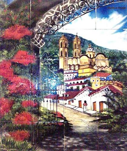 Tile mural village on the hill for Mural village