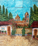 old chapel Hand crafted ceramic tile mural