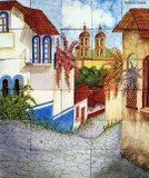 old town Hand crafted ceramic tile mural