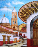 colonial church Hand crafted talavera tile mural