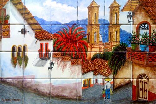 Tile mural colorful village for Mural village