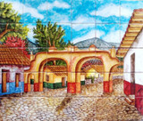arches colorful tile mural
