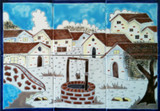 white village colorful tile mural