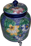 talavera flower water crock