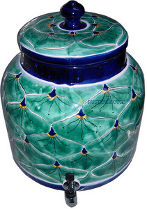 Talavera Peacock Water Crock