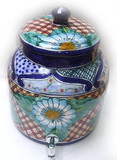 talavera blue flower water crock
