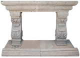 spanish stone fireplace