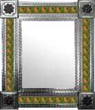 mexican wall mirror with countryside tiles