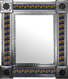 mexican mirror with folk art tiles