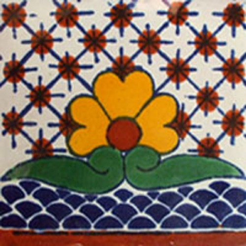 mexican stair rise tile white yellow green