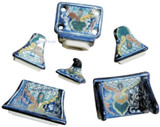 blue green ceramic bath accessory set