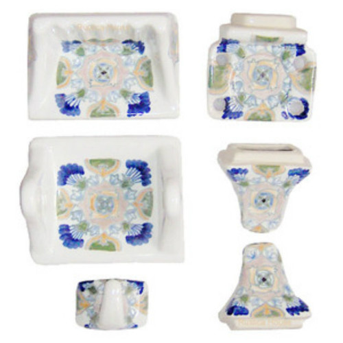 White blue bath accessory set for Blue and white bath accessories