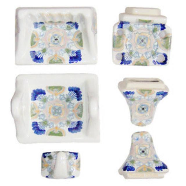 White blue bath accessory set for Blue bath accessories set