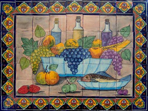 Hand painted southeastern tile mural for Muestras de azulejos