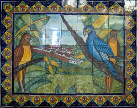 Painted decorative tile mural for Decorative tile mural