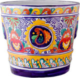hand painted red yellow flower pot