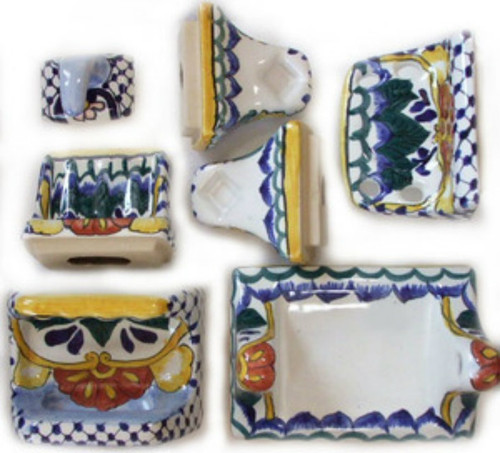 Yellow blue bath accessory set for Yellow and blue bathroom accessories