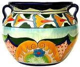 talavera pottery: mexican flower pot mexican flower pot 0-14