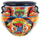 porcelain talavera flower planter black red
