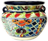 talavera pottery: mexican flower pot mexican flower pot 0-08