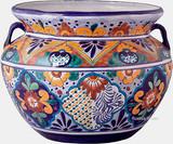 talavera pottery: mexican flower pot mexican flower pot 0-04