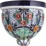 rustic talavera sconce red green