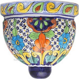 southern talavera sconce orange green
