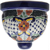 artisan made talavera sconce black brown