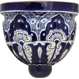 painted talavera sconce dark blue
