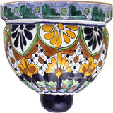 handmade talavera sconce blue yellow