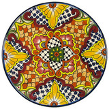 custom made talavera plate yellow red