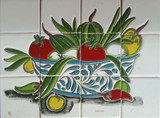 vegetable bowl bathroom wall relief tile mural