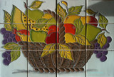 fruit basket wall relief tile mural