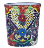 mexican talavera: bathroom trash can